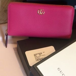 NWT/GUCCI/GG Marmont Pink Leather ZipAround Wallet